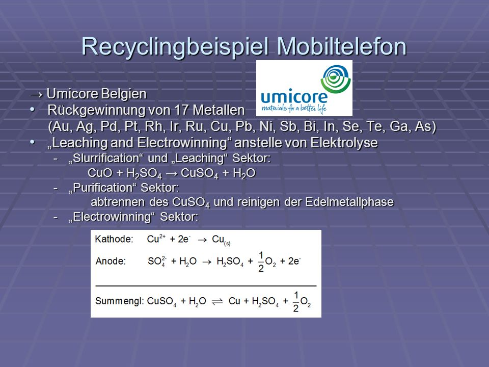 Recyclingbeispiel Mobiltelefon