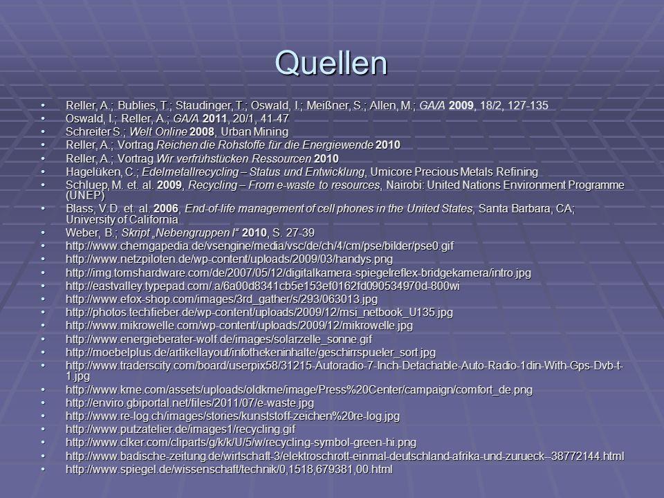 Quellen Reller, A.; Bublies, T.; Staudinger, T.; Oswald, I.; Meißner, S.; Allen, M.; GA/A 2009, 18/2, 127-135.