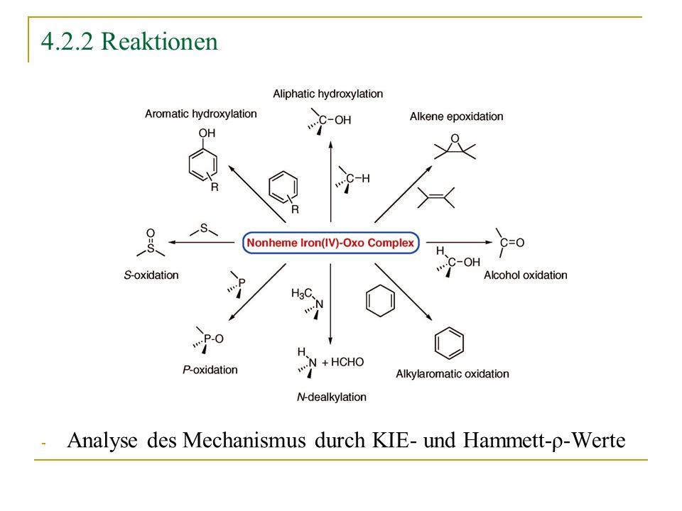 4.2.2 Reaktionen Analyse des Mechanismus durch KIE- und Hammett-ρ-Werte