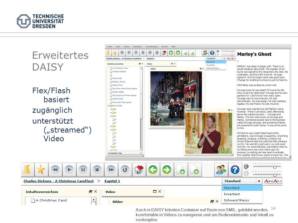 """Erweitertes DAISYFlex/Flash basiert zugänglich unterstützt (""""streamed ) Video"""