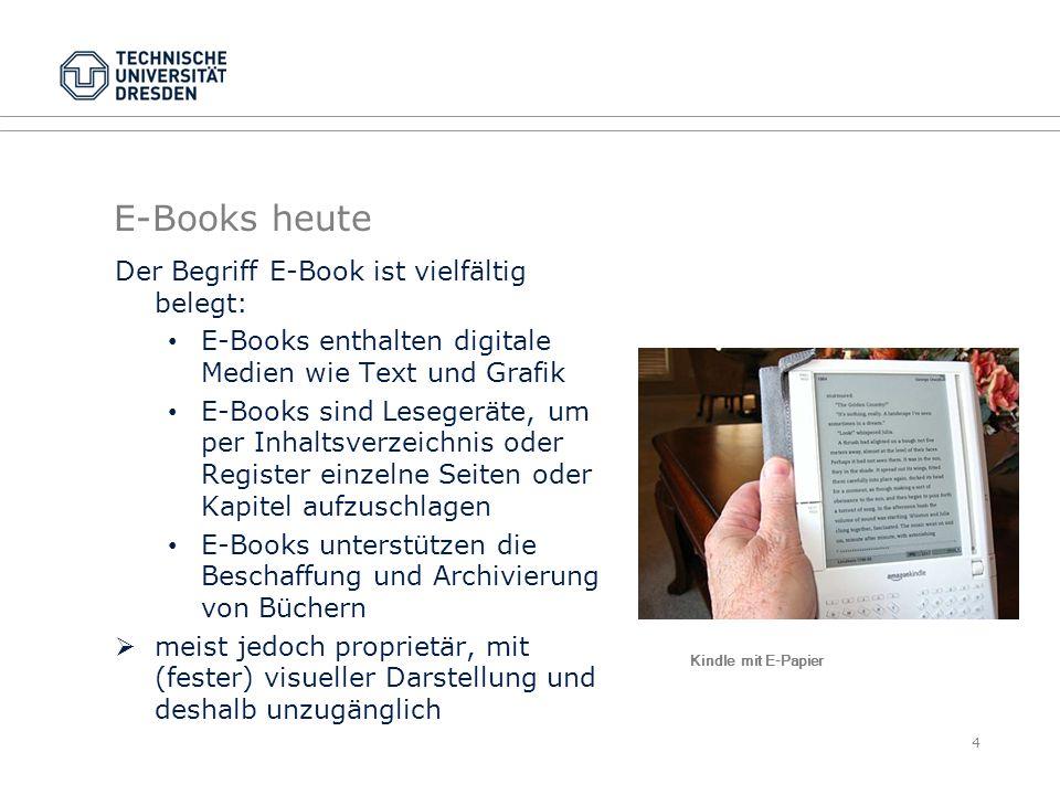 E-Books heute Der Begriff E-Book ist vielfältig belegt:
