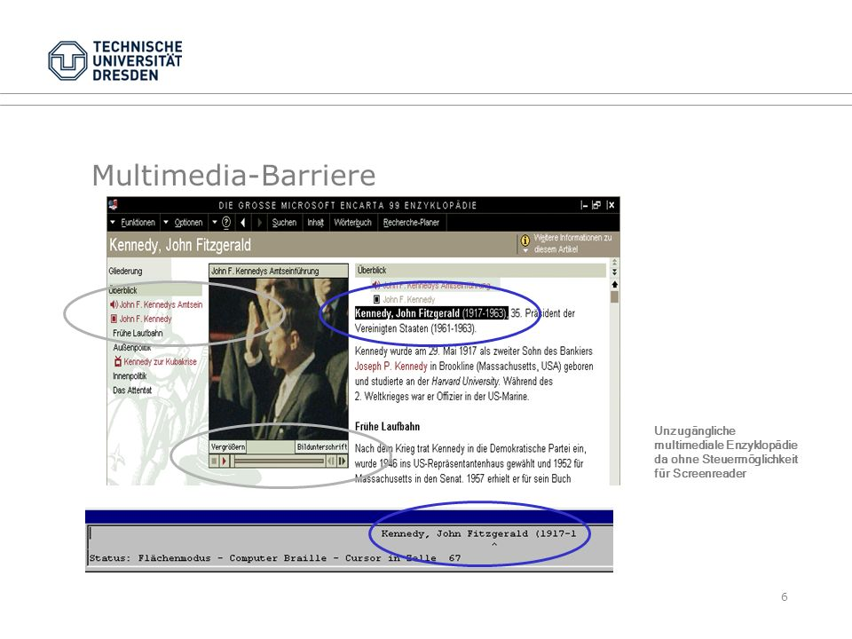 Multimedia-Barriere Unzugängliche multimediale Enzyklopädie