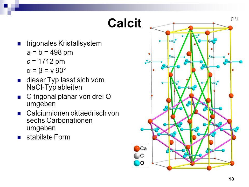 Calcit trigonales Kristallsystem a = b = 498 pm c = 1712 pm