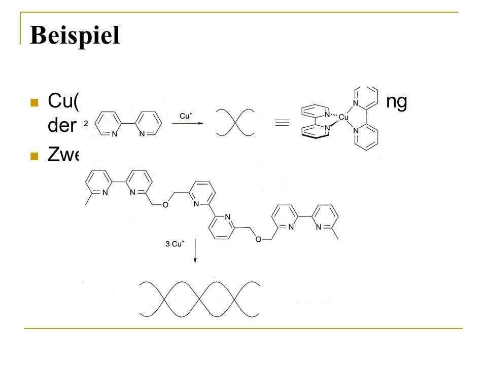 Beispiel Cu(I)  d10  tetraedrische Anordnung der Liganden bevorzugt!