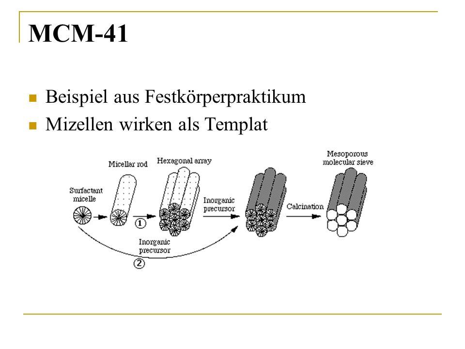 MCM-41 Beispiel aus Festkörperpraktikum Mizellen wirken als Templat