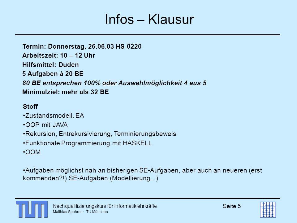 Infos – Klausur Termin: Donnerstag, 26.06.03 HS 0220