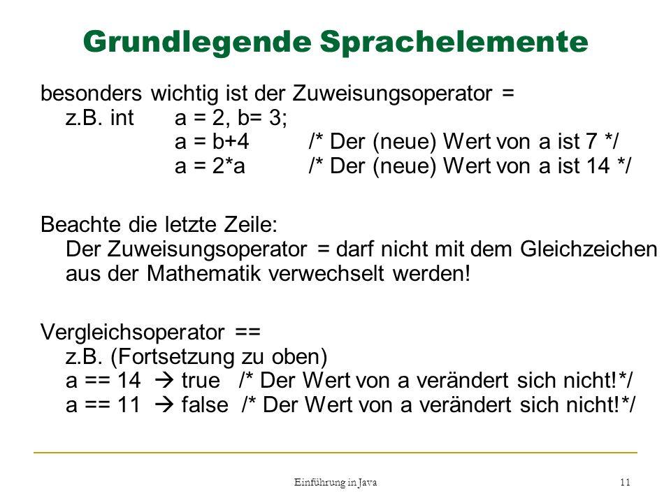 Grundlegende Sprachelemente