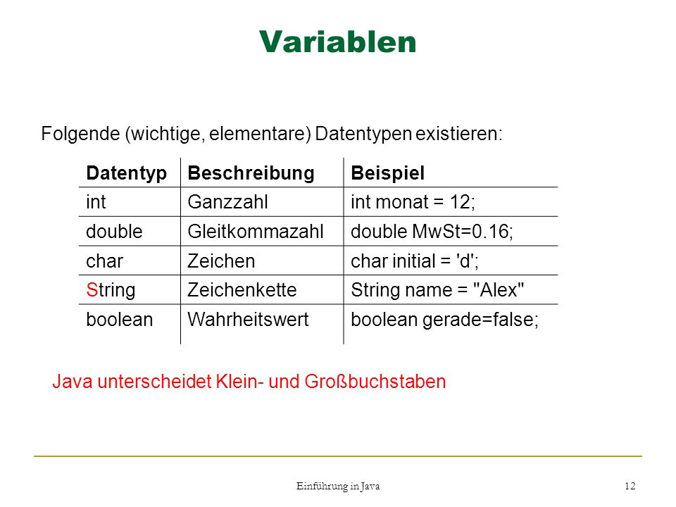 Variablen Folgende (wichtige, elementare) Datentypen existieren: