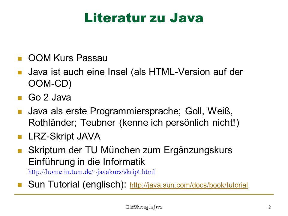 Literatur zu Java OOM Kurs Passau