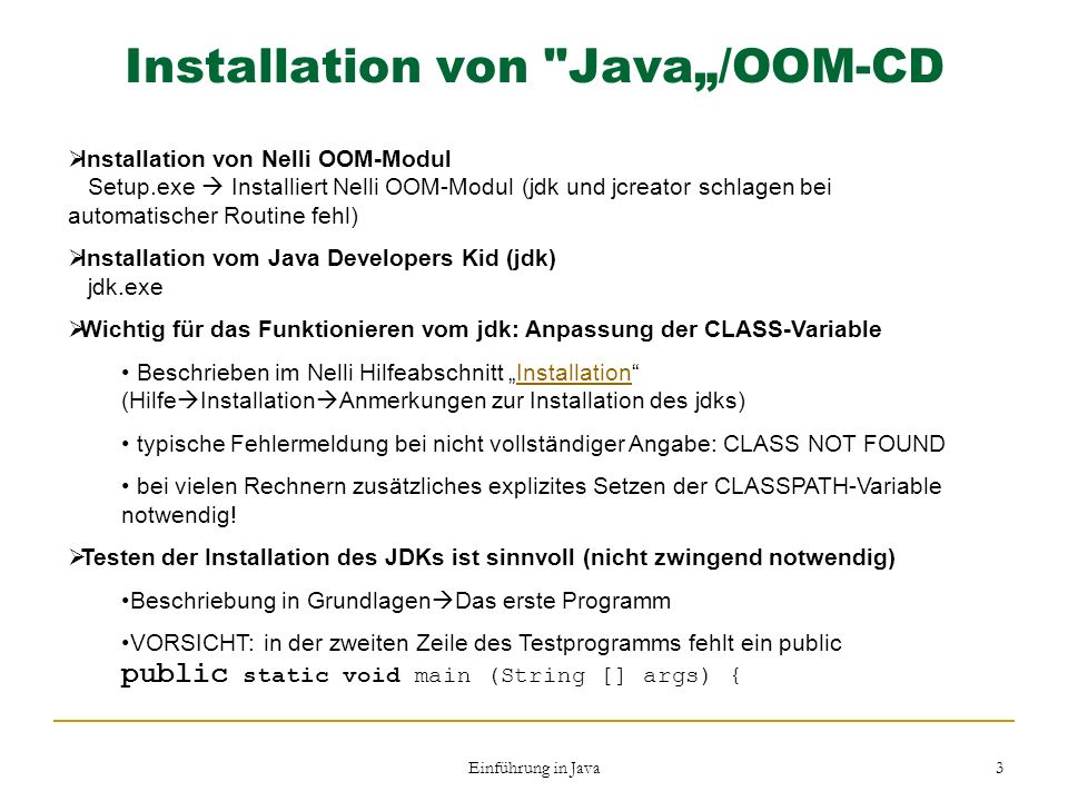 "Installation von Java""/OOM-CD"