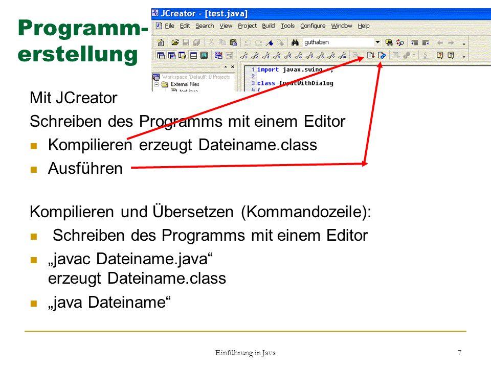 Programm- erstellung Mit JCreator