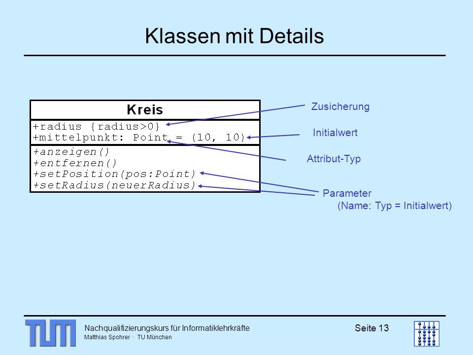 Klassen mit Details Zusicherung Initialwert Attribut-Typ
