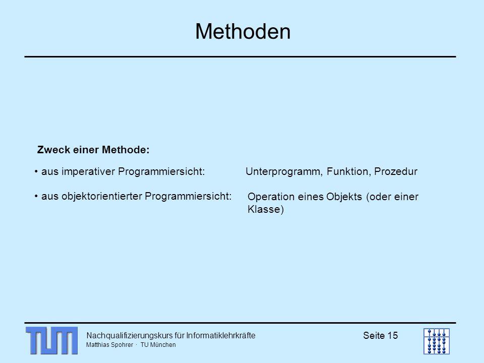 Methoden Zweck einer Methode: aus imperativer Programmiersicht: