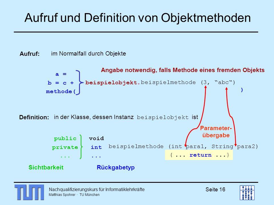 Aufruf und Definition von Objektmethoden