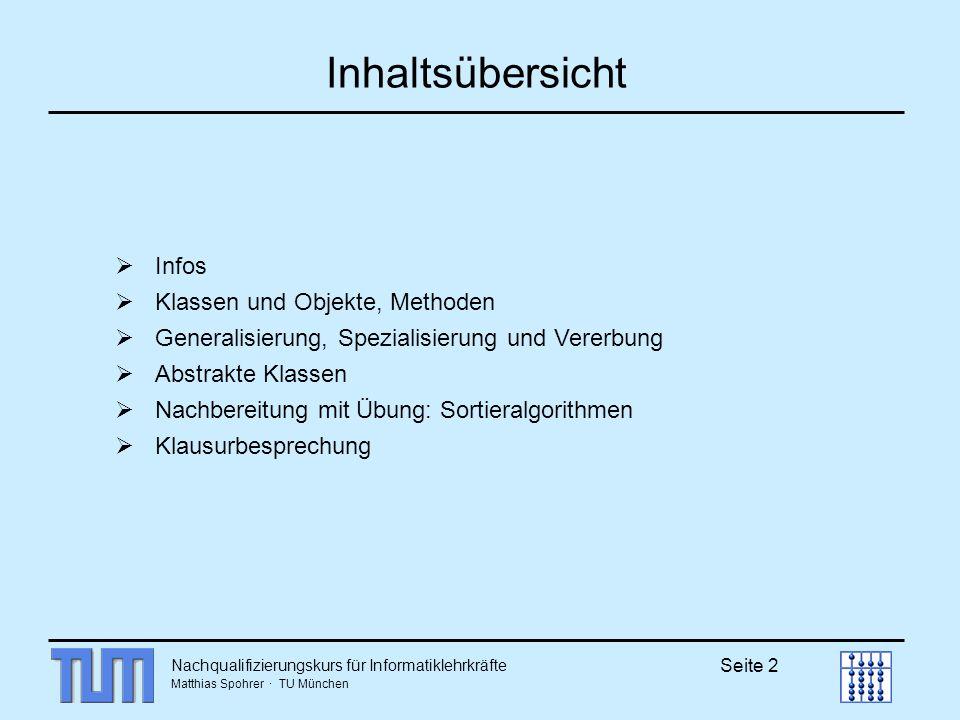 Inhaltsübersicht Infos Klassen und Objekte, Methoden