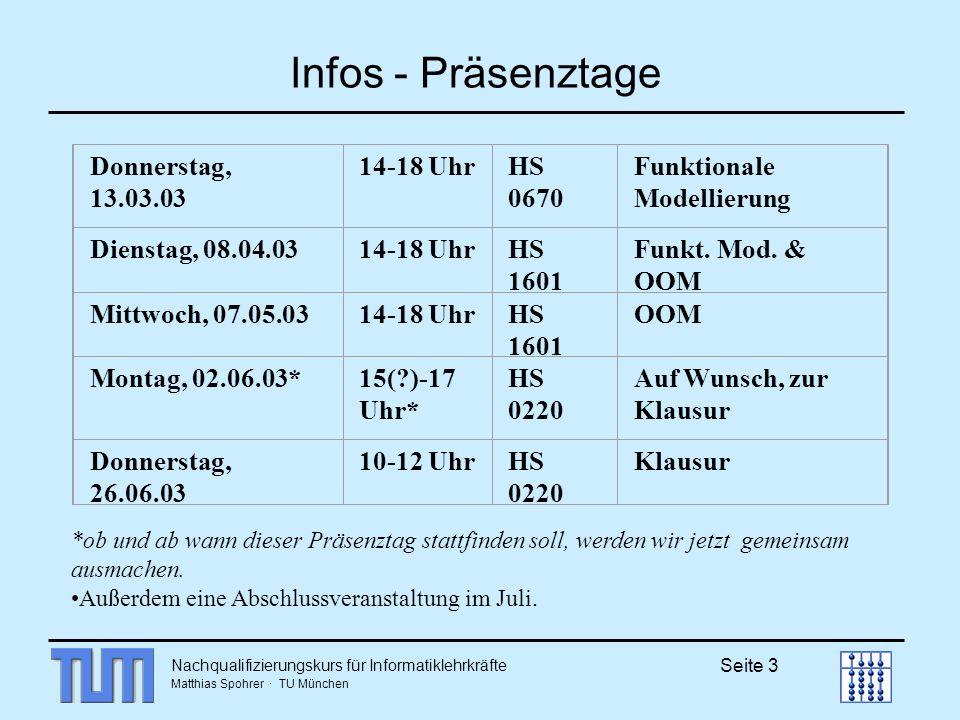Infos - Präsenztage Donnerstag, 13.03.03 14-18 Uhr HS 0670