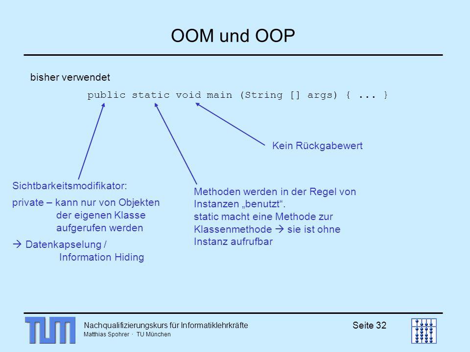 OOM und OOP bisher verwendet