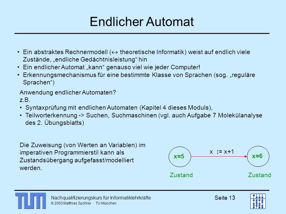 """Endlicher Automat Ein abstraktes Rechnermodell ( theoretische Informatik) weist auf endlich viele Zustände, """"endliche Gedächtnisleistung hin."""