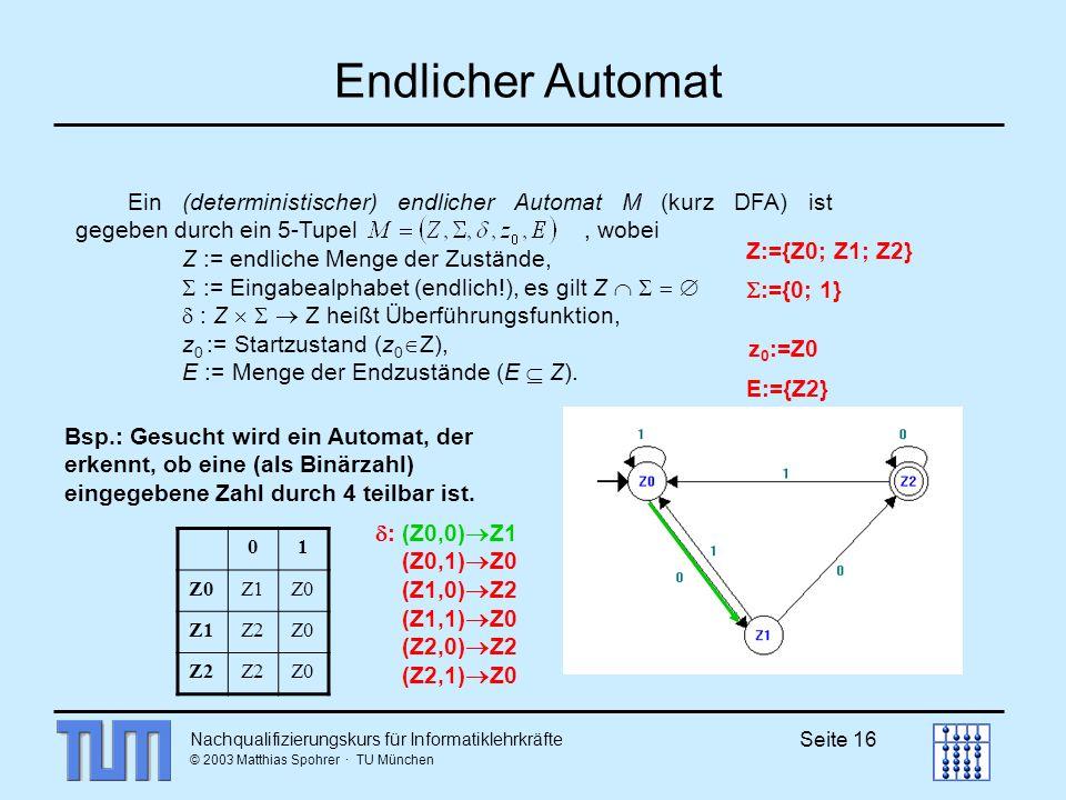 Endlicher Automat Ein (deterministischer) endlicher Automat M (kurz DFA) ist gegeben durch ein 5-Tupel , wobei.