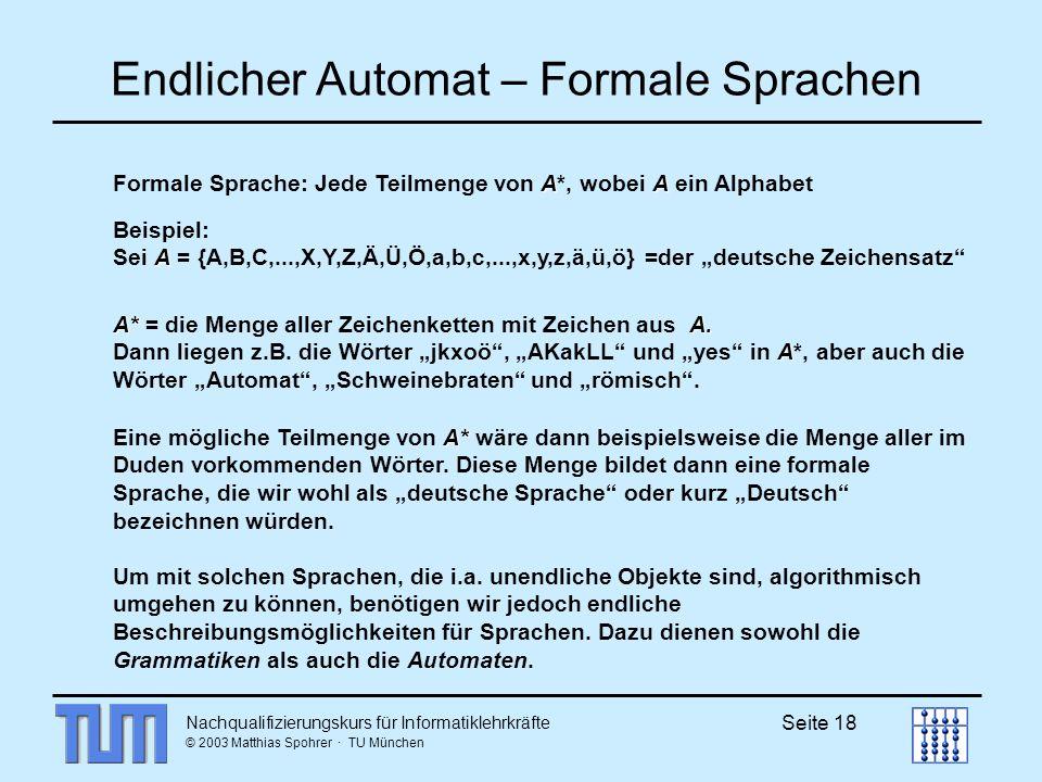 Endlicher Automat – Formale Sprachen