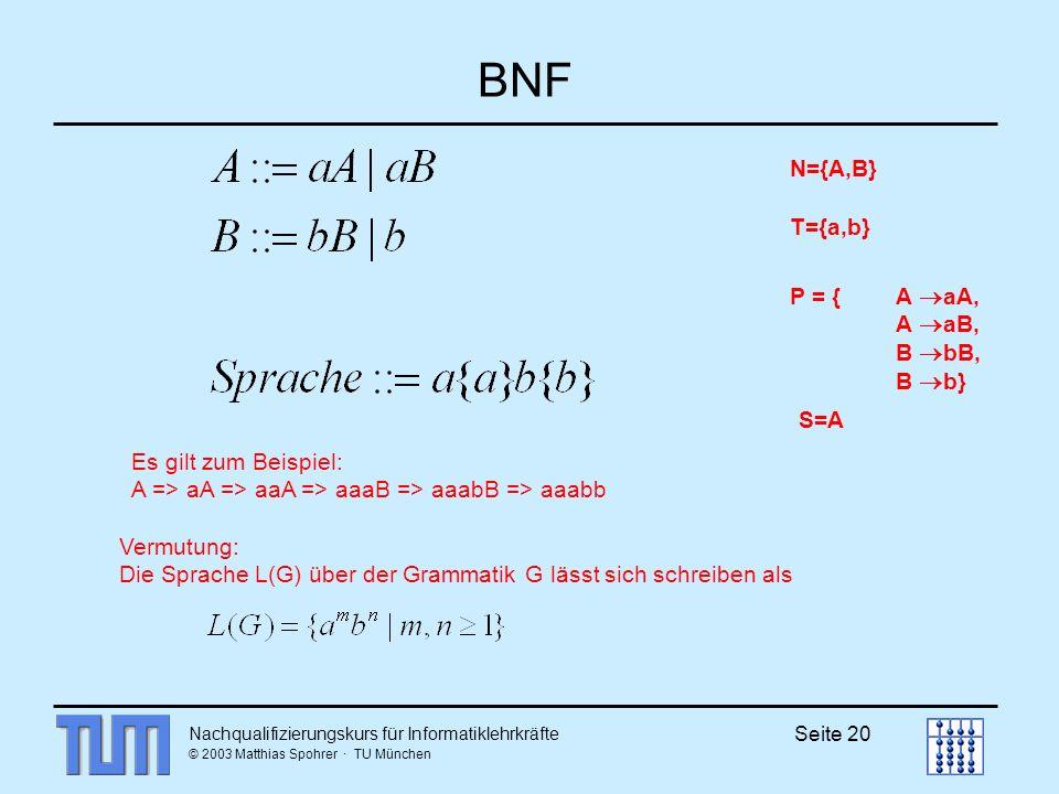 BNF N={A,B} T={a,b} P = { A aA, A aB, B bB, B b} S=A