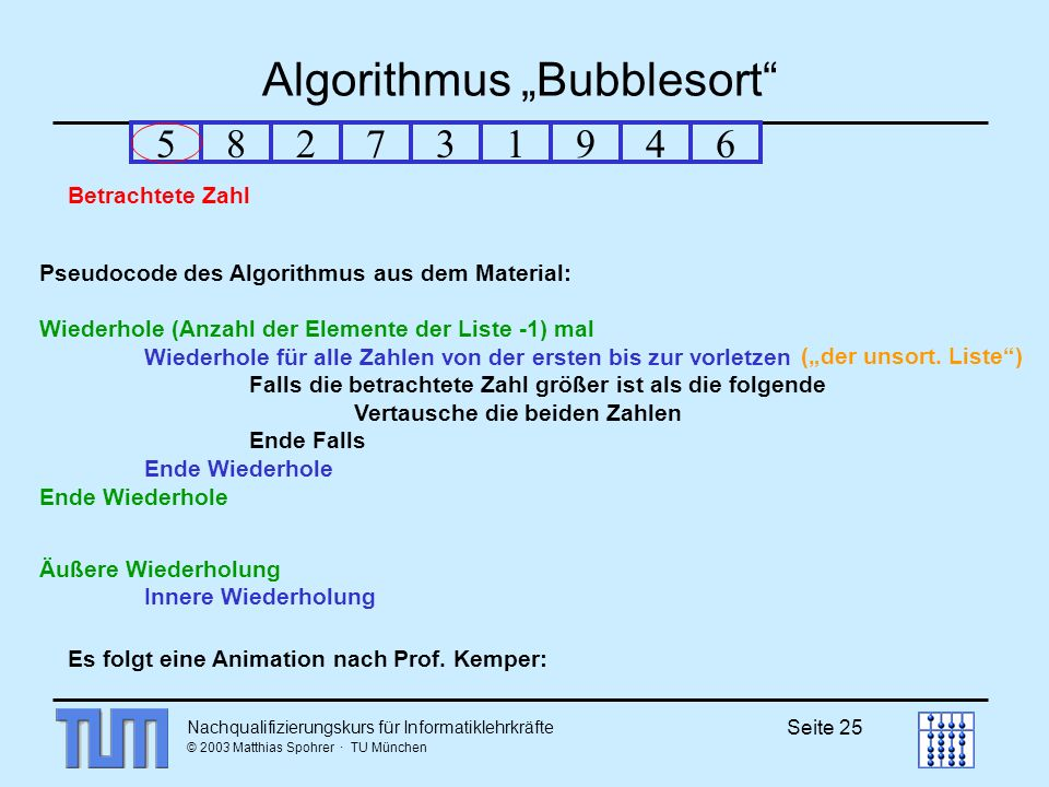 "Algorithmus ""Bubblesort"