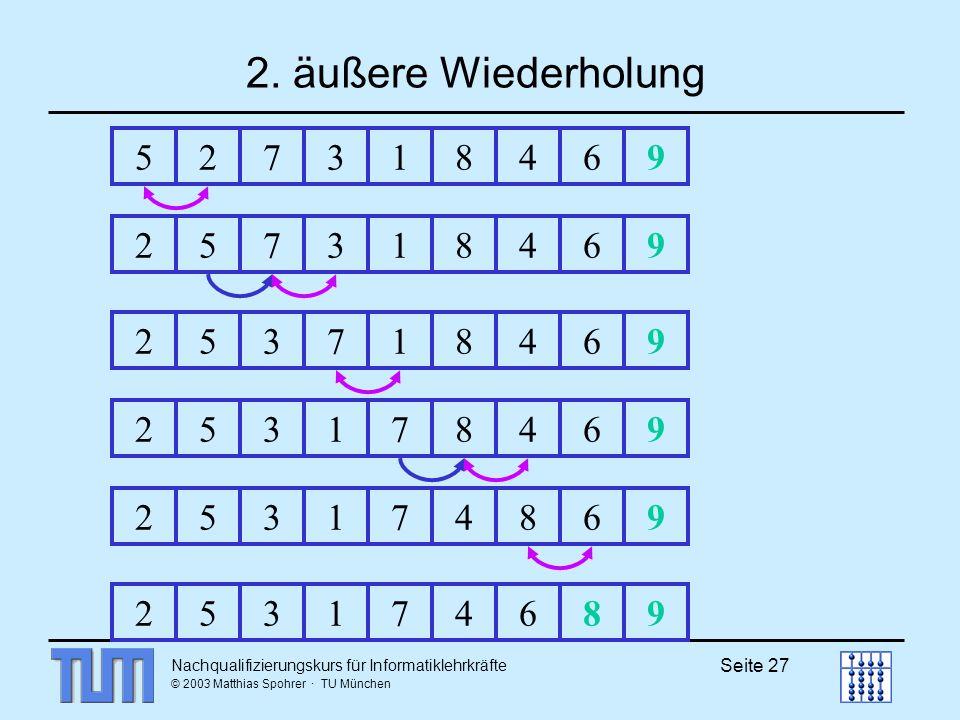 2. äußere Wiederholung 5. 2. 7. 3. 1. 8. 4. 6. 9. 2. 5. 7. 3. 1. 8. 4. 6. 9. 2. 5.