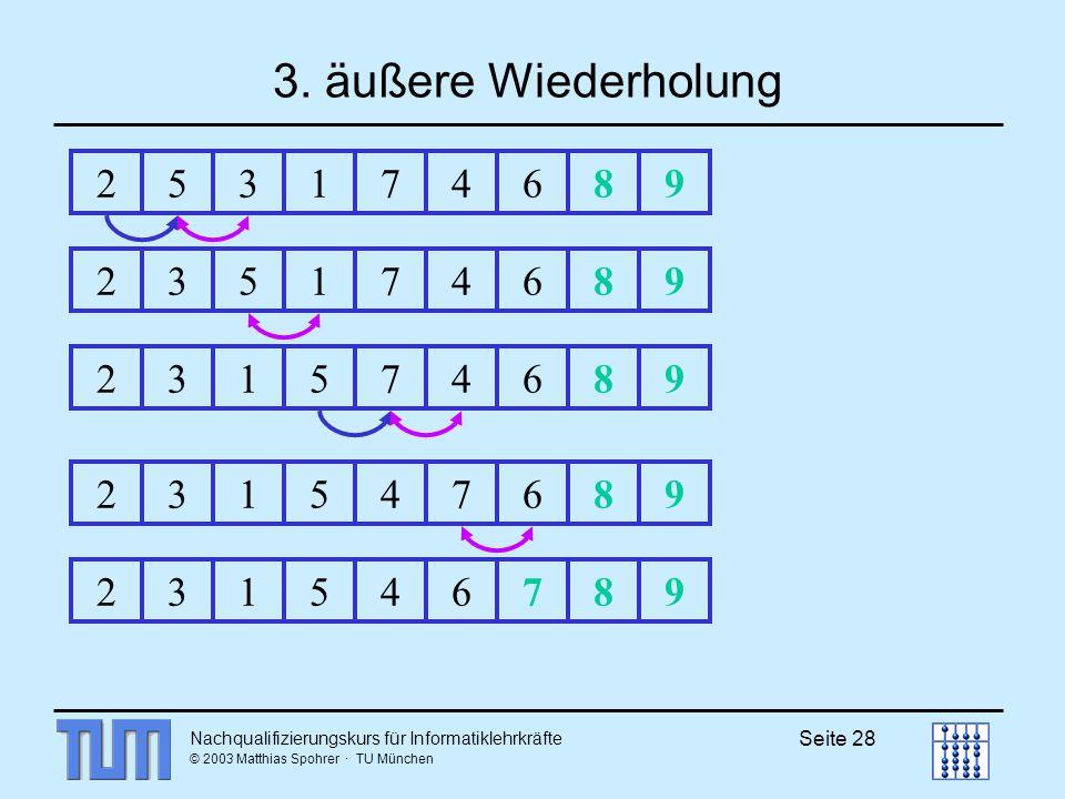 3. äußere Wiederholung 2. 5. 3. 1. 7. 4. 6. 8. 9. 2. 3. 5. 1. 7. 4. 6. 8. 9. 2. 3.