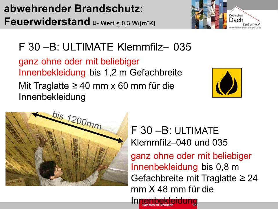 abwehrender Brandschutz: Feuerwiderstand U- Wert < 0,3 W/(m²K)