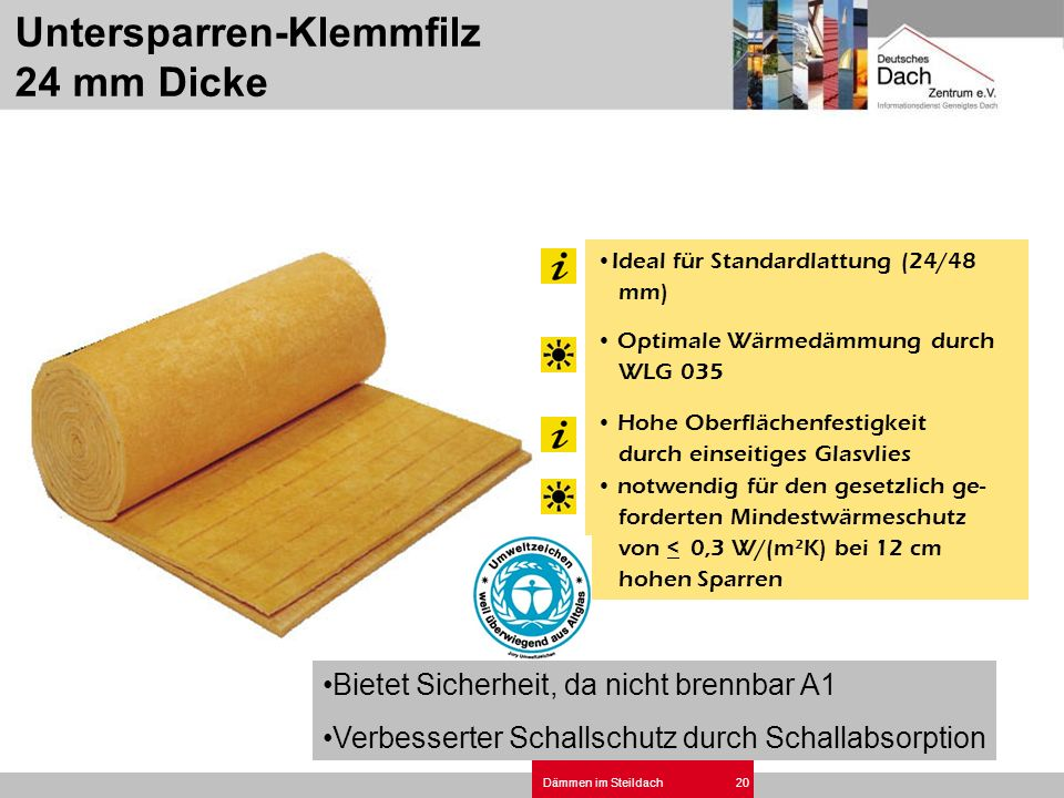 Untersparren-Klemmfilz 24 mm Dicke