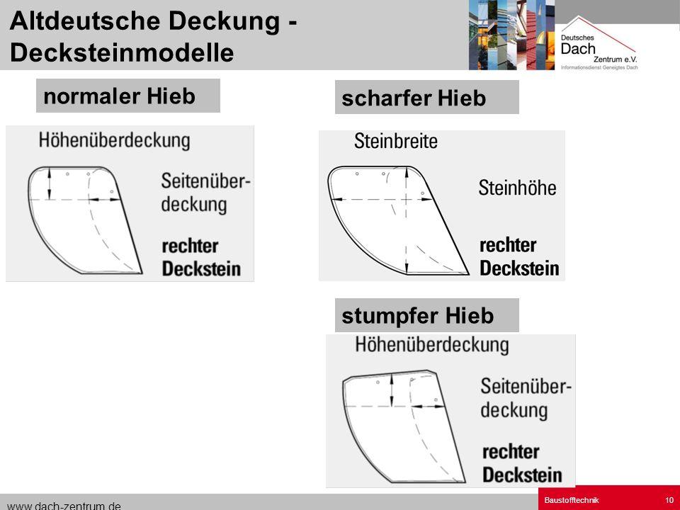 Altdeutsche Deckung - Decksteinmodelle