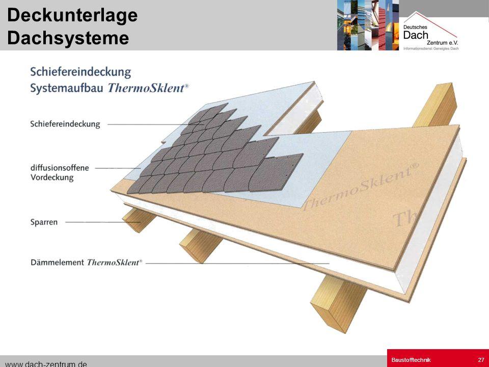 Deckunterlage Dachsysteme