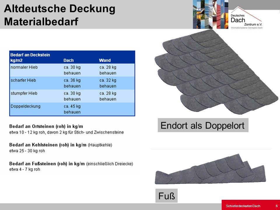 Altdeutsche Deckung Materialbedarf
