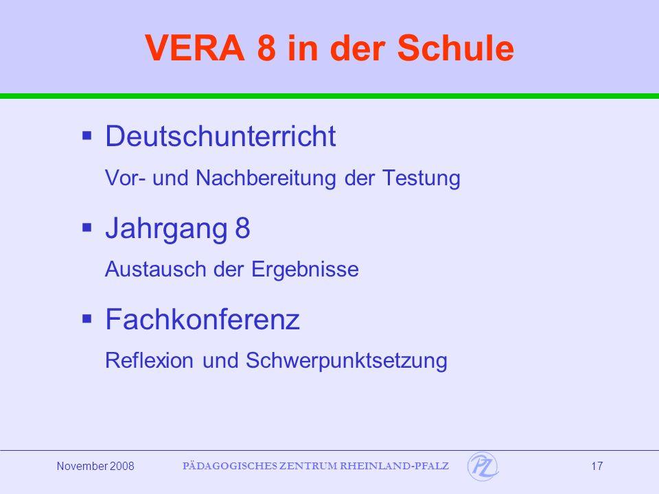 VERA 8 in der Schule Deutschunterricht