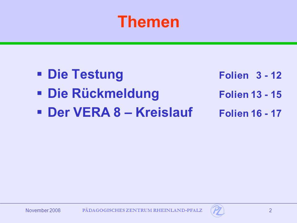 Themen Die Testung Folien 3 - 12 Die Rückmeldung Folien 13 - 15