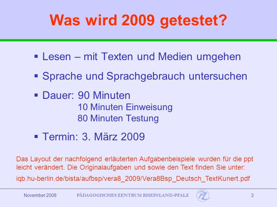 Was wird 2009 getestet Lesen – mit Texten und Medien umgehen