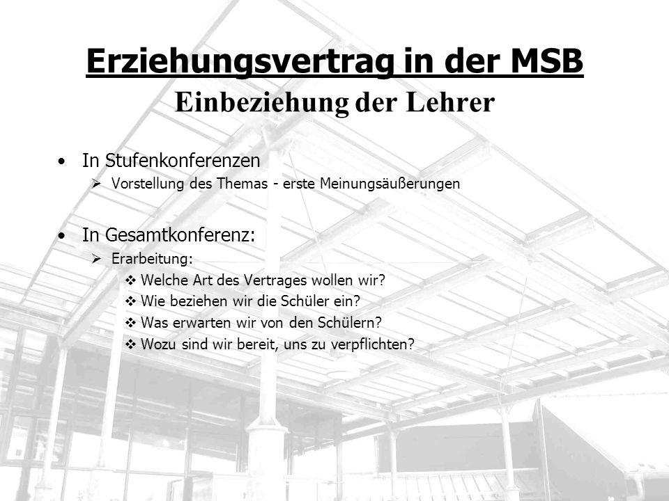 Erziehungsvertrag in der MSB Einbeziehung der Lehrer