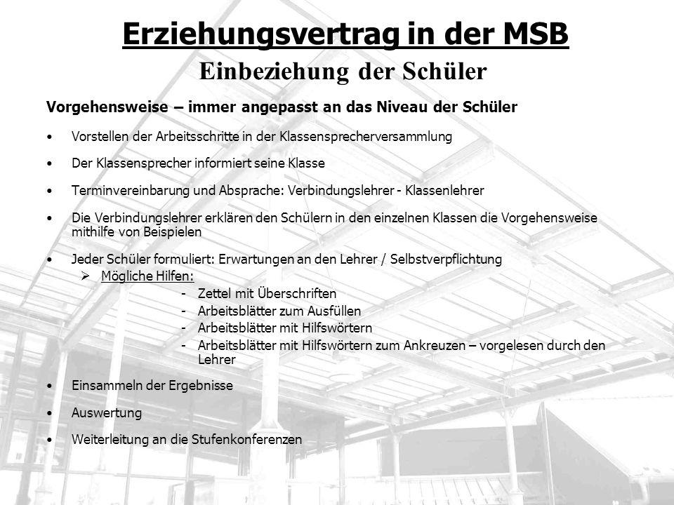 Erziehungsvertrag in der MSB Einbeziehung der Schüler