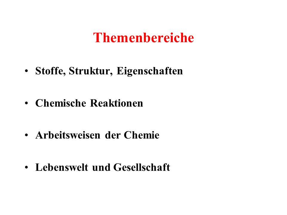 Themenbereiche Stoffe, Struktur, Eigenschaften Chemische Reaktionen