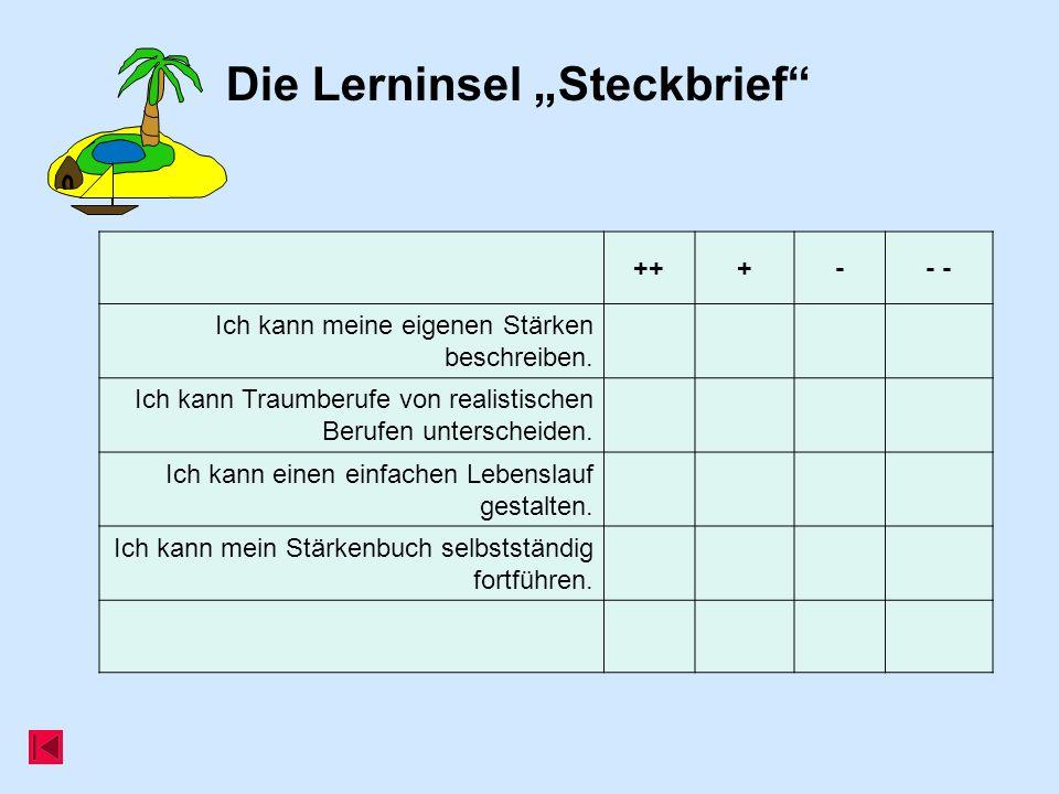 """Die Lerninsel """"Steckbrief"""