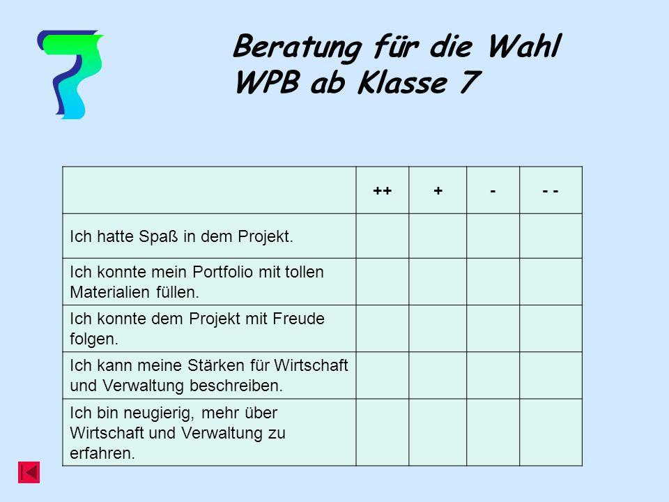 7 Beratung für die Wahl WPB ab Klasse 7 ++ + - - -