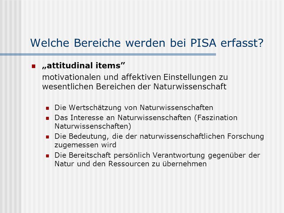 Welche Bereiche werden bei PISA erfasst