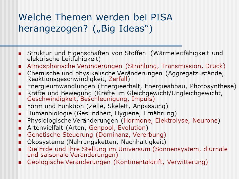 """Welche Themen werden bei PISA herangezogen (""""Big Ideas )"""