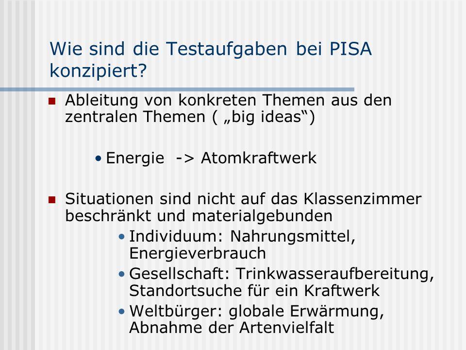 Wie sind die Testaufgaben bei PISA konzipiert