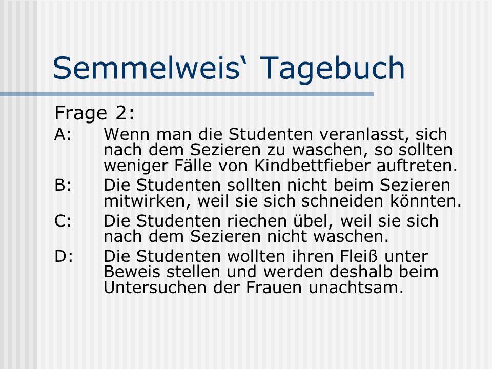 Semmelweis' Tagebuch Frage 2: