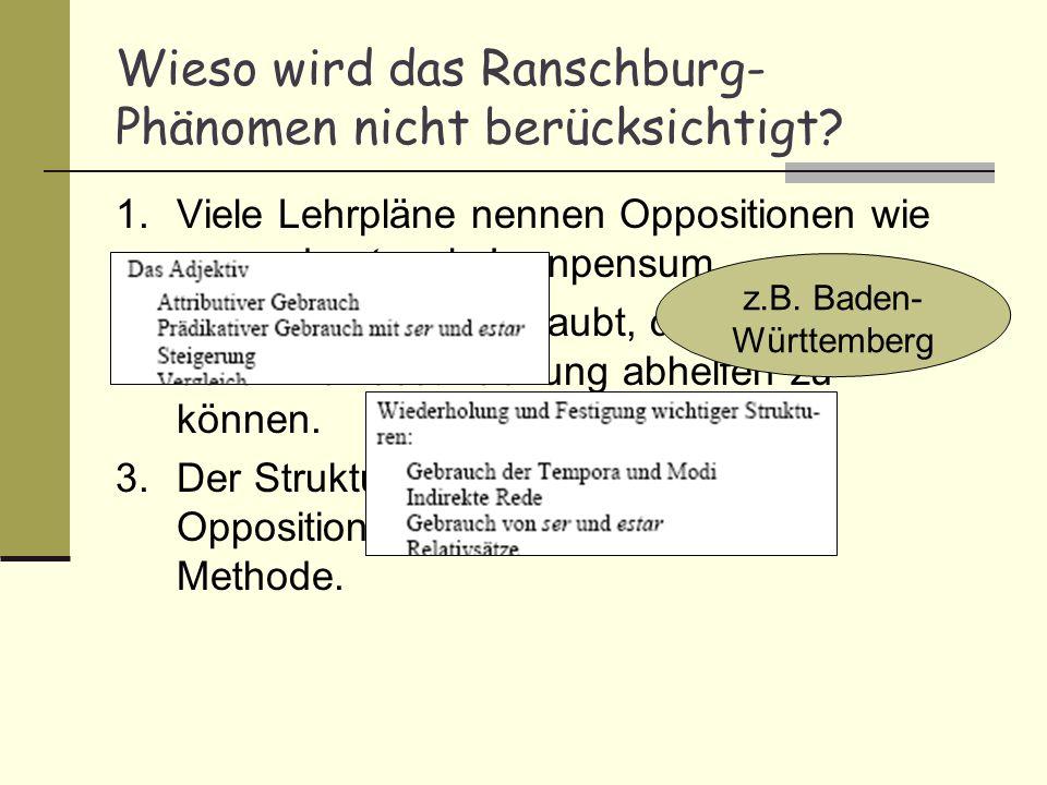 Wieso wird das Ranschburg-Phänomen nicht berücksichtigt