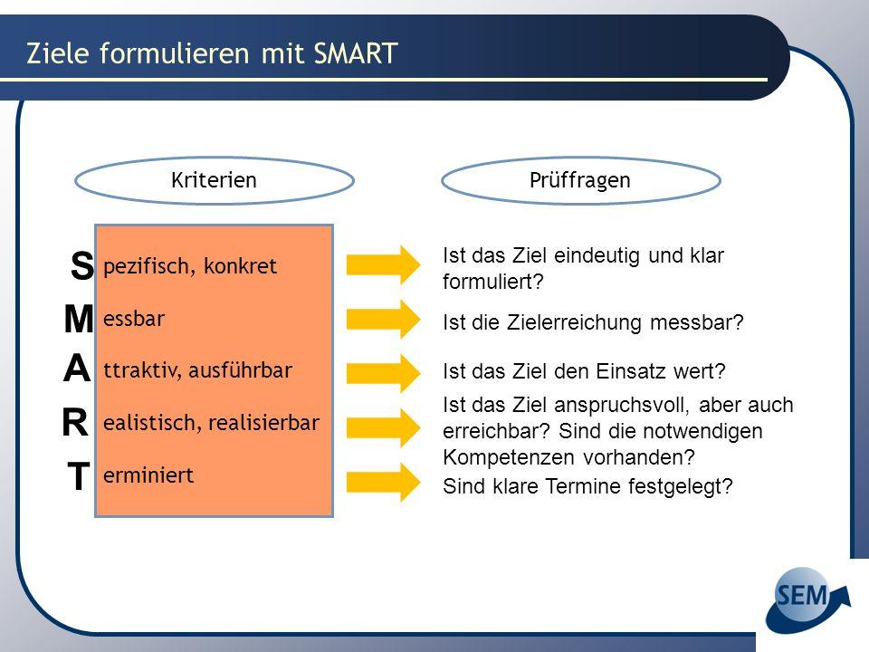 S M A R T Ziele formulieren mit SMART Kriterien Prüffragen