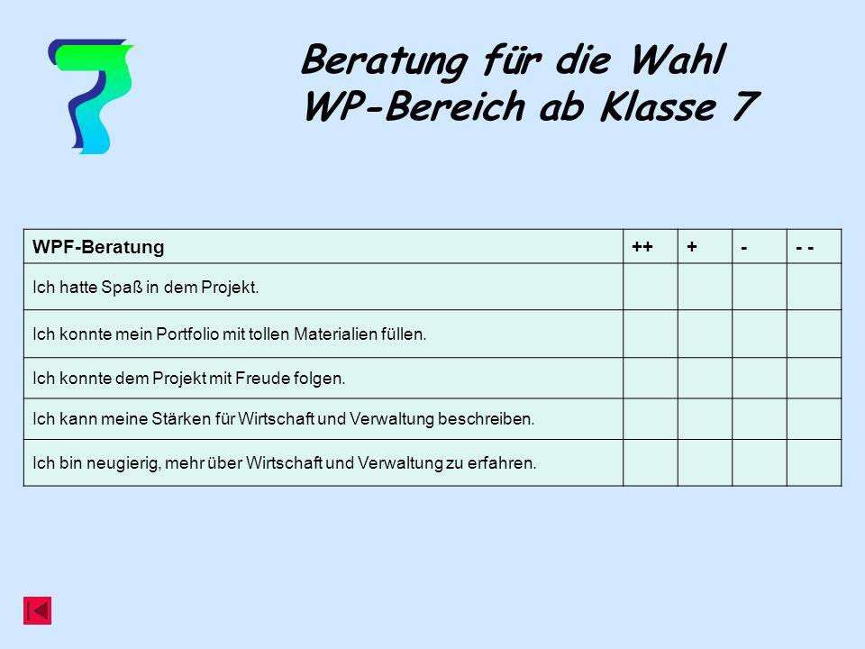7 Beratung für die Wahl WP-Bereich ab Klasse 7 WPF-Beratung ++ + - - -