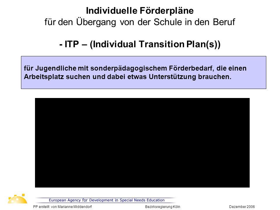 Individuelle Förderpläne für den Übergang von der Schule in den Beruf - ITP – (Individual Transition Plan(s))