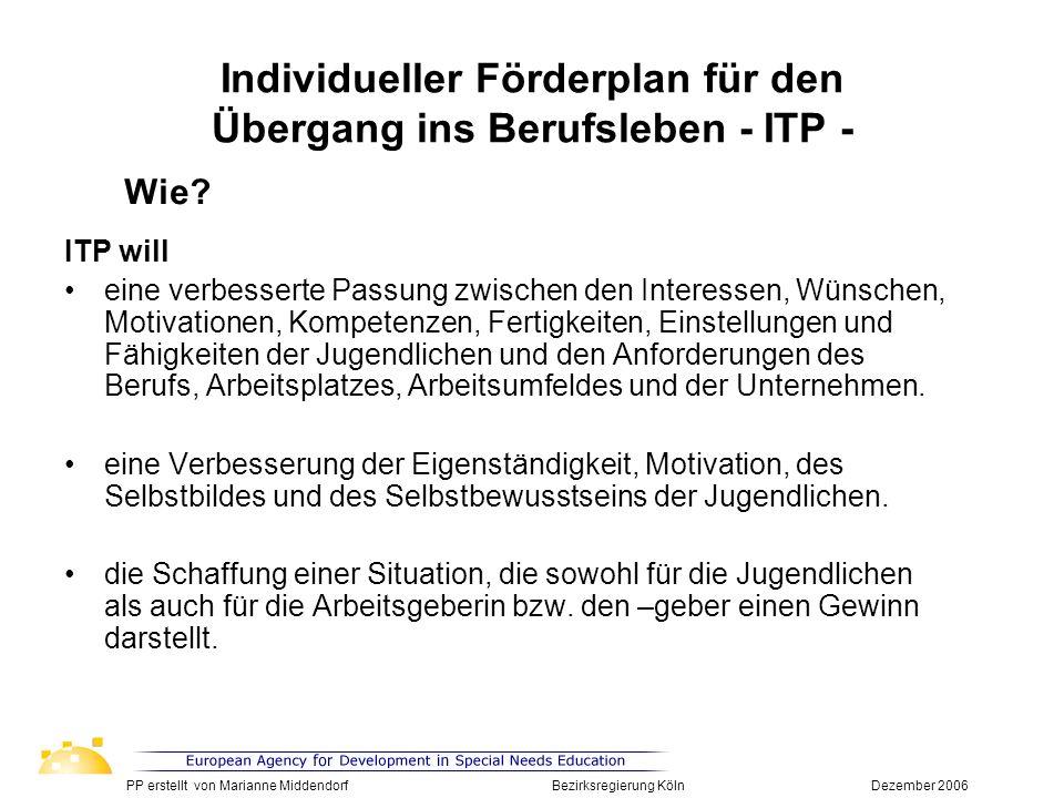 Individueller Förderplan für den Übergang ins Berufsleben - ITP -